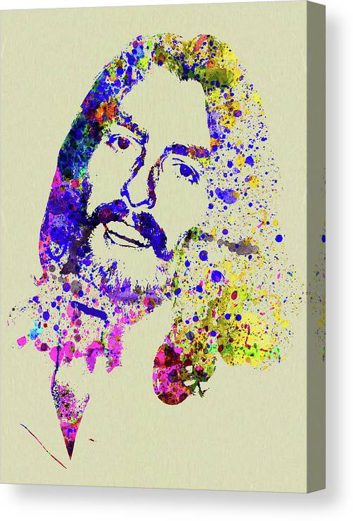 Beatles Canvas Print featuring the mixed media Legendary George Harrison Watercolor II by Naxart Studio
