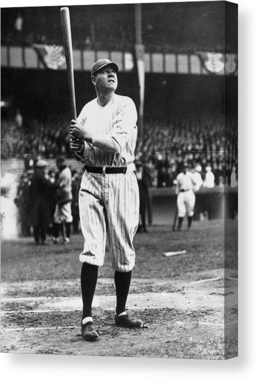 People Canvas Print featuring the photograph Babe Ruth Batting For Ny Yankees by Topical Press Agency