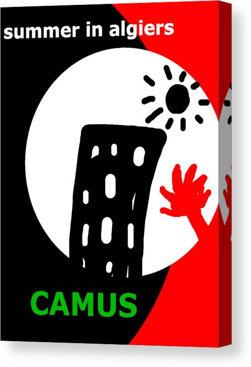 Camus Canvas Print featuring the drawing Camus Algiers Poster by Paul Sutcliffe