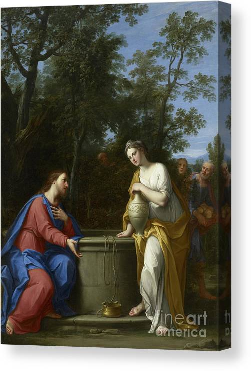 Christian Canvas Print featuring the painting Christ And The Woman Of Samaria by Marco Antonio Franceschini