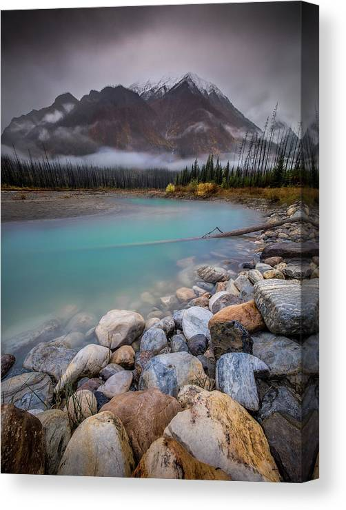 Landscape Canvas Print featuring the photograph Glacial Waters / Banff, Canada by Nicholas Parker