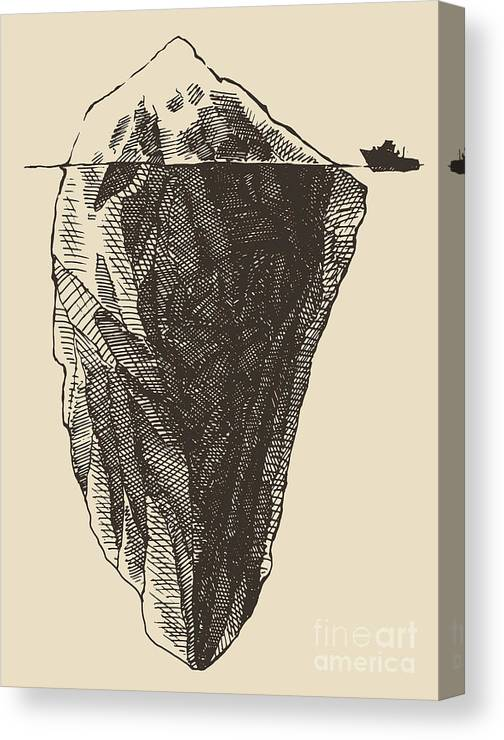 Symbol Canvas Print featuring the digital art Iceberg With Icebreaker Vintage by Grop