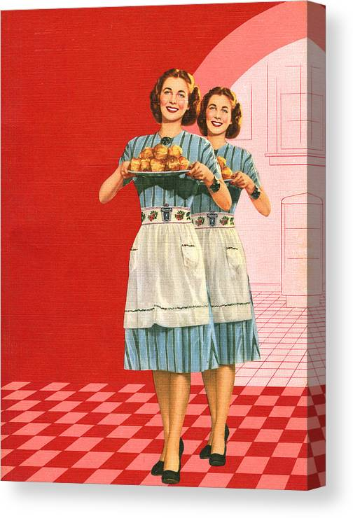 People Canvas Print featuring the digital art Identical Women Serving Rolls by Graphicaartis