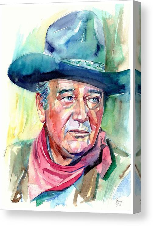 John Canvas Print featuring the painting John Wayne Portrait by Suzann Sines
