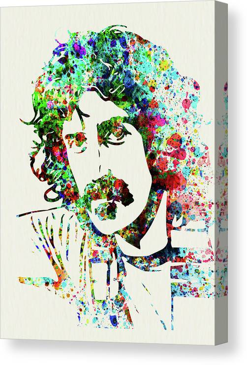 Frank Zappa Canvas Print featuring the mixed media Legendary Frank Zappa Watercolor by Naxart Studio