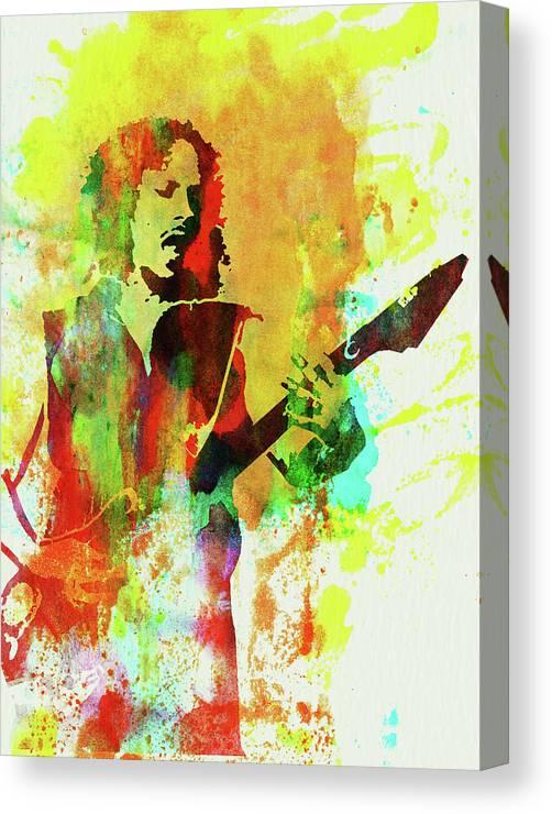 Kirk Hammett Canvas Print featuring the mixed media Legendary Kirk Hammett Watercolor by Naxart Studio