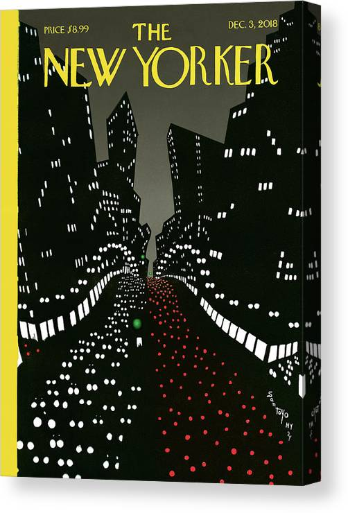 New York Lights Up Canvas Print featuring the drawing New York Lights Up by Matias Santoyo