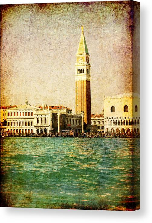 Antique Canvas Print featuring the digital art Vintage Venice, S.marco Square From The Sea by Luisa Vallon Fumi
