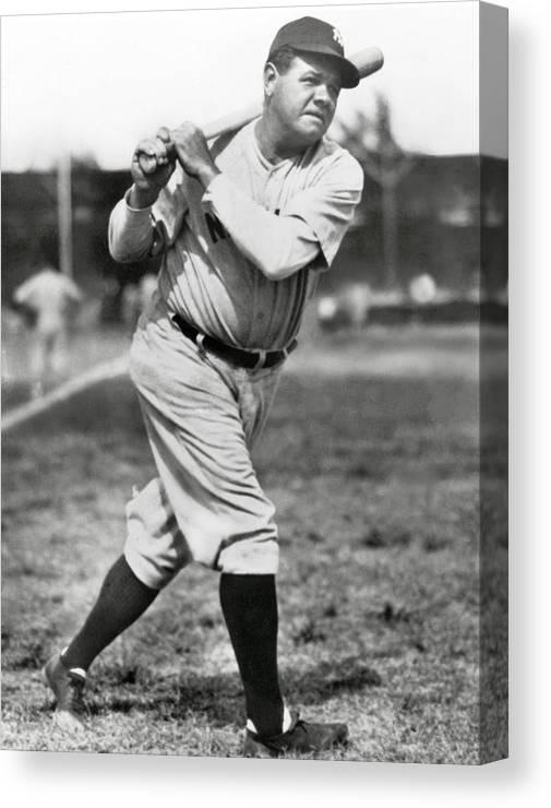 American League Baseball Canvas Print featuring the photograph Babe Ruth by Mlb Photos