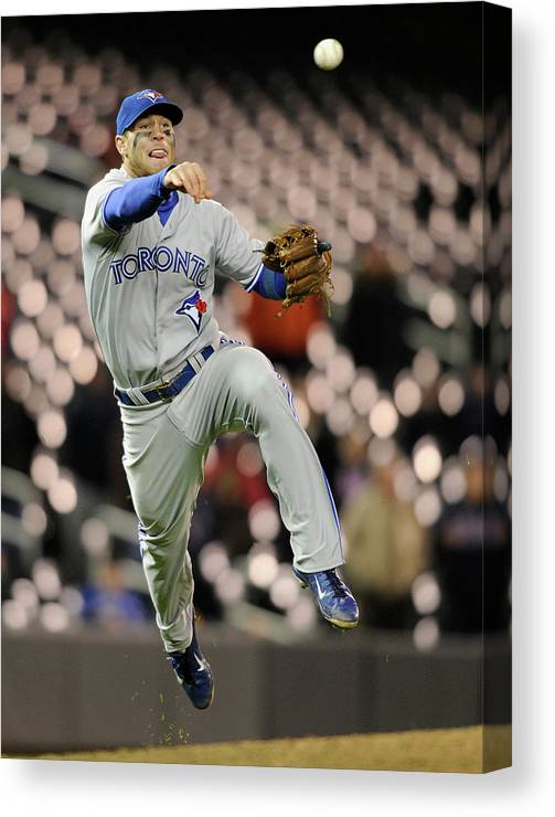 Game Two Canvas Print featuring the photograph Brett Lawrie by Brian Blanco