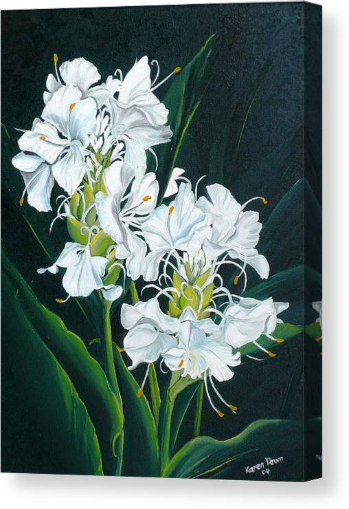 Caribbean Painting Butterfly Ginger Painting Floral Painting Botanical Painting Flower Painting Water Ginger Painting Or Water Ginger Tropical Lily Painting Original Oil Painting Trinidad And  Tobago Painting Tropical Painting Lily Painting White Flower Painting Canvas Print featuring the painting Butterfly Ginger by Karin Dawn Kelshall- Best