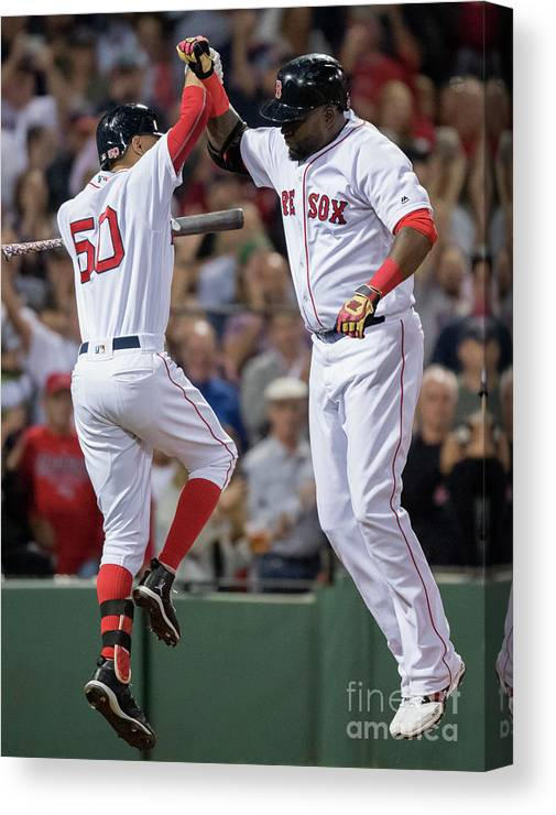 People Canvas Print featuring the photograph David Ortiz And Mookie Betts by Michael Ivins/boston Red Sox