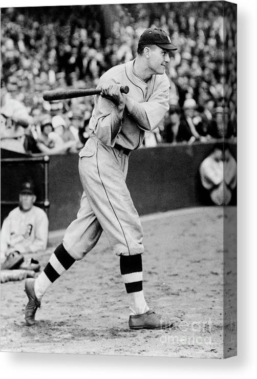 People Canvas Print featuring the photograph Heinie Manush by National Baseball Hall Of Fame Library