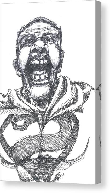 Bizarro Canvas Print featuring the drawing Bizarro Nmber 4 by Kevin Ball