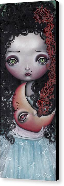 Moon Canvas Print featuring the painting Moon Keeper by Abril Andrade Griffith