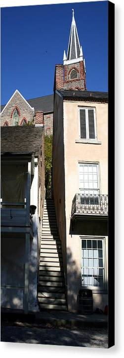 Historic Canvas Print featuring the photograph Stairs To Where by Rebecca Smith
