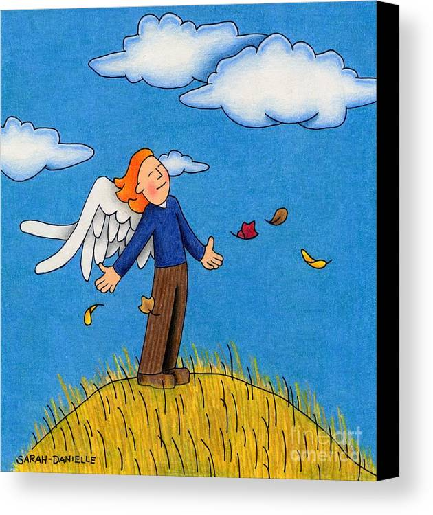 Angels Canvas Print featuring the drawing Autumn Angel by Sarah Batalka