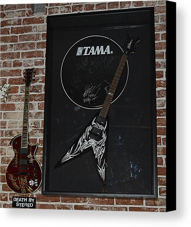 Vintage Music Canvas Print featuring the photograph Death By Stereo Band Memorabilia-autographed Guitar by Renee Anderson