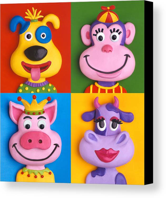 Animal Canvas Print featuring the painting Four Animal Faces by Amy Vangsgard