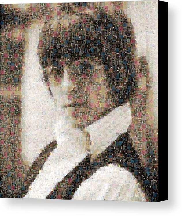 Beatles Canvas Print featuring the digital art George Harrison Mosaic Image 2 by Steve Kearns