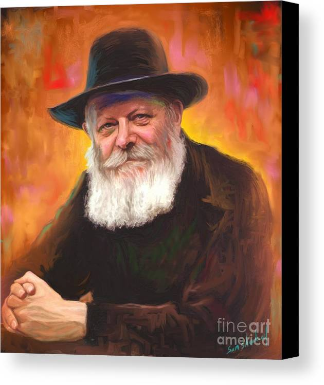 Lubavitcher Rebbe Canvas Print featuring the painting Lubavitcher Rebbe by Sam Shacked