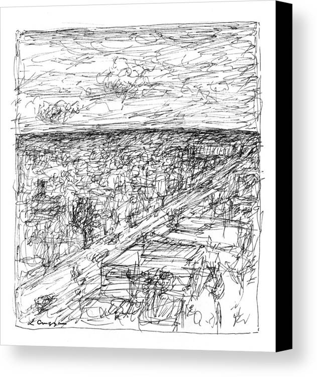 Landscape Canvas Print featuring the drawing Skyline Sketch by Elizabeth Carrozza