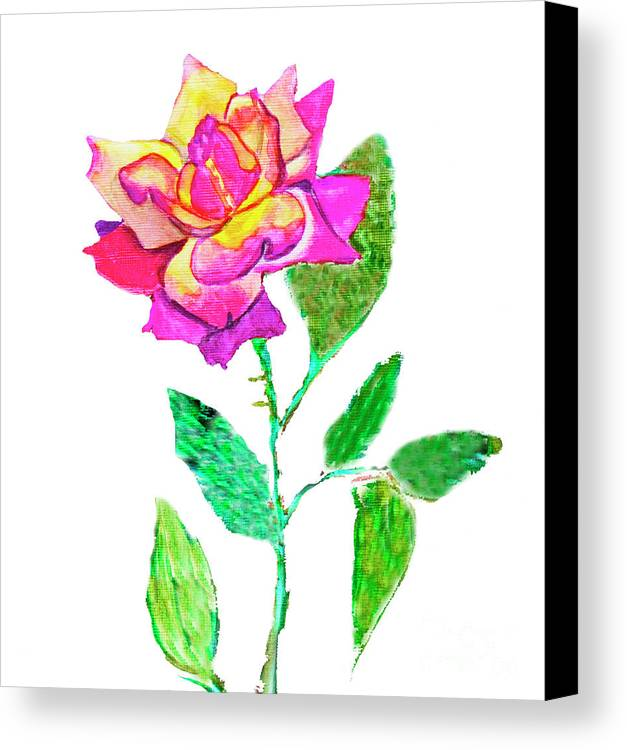 Art Canvas Print featuring the painting Rose, Watercolor Painting by Irina Afonskaya