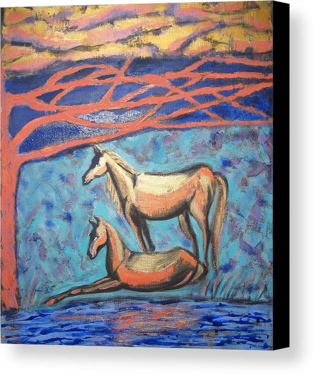 Horse Canvas Print featuring the painting Chinook Is Coming by Aliza Souleyeva-Alexander