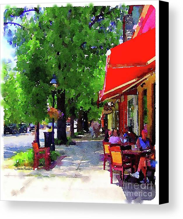 Haddonfield Canvas Print featuring the painting Haddonfield Bistro by Denise Haddock