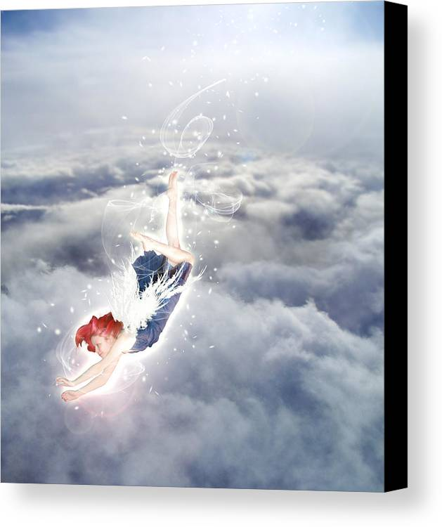 Angel Canvas Print featuring the digital art Light Play Angels Descent by Nikki Marie Smith