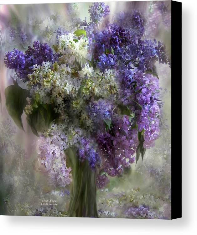 Lilacs Canvas Print featuring the mixed media Lilacs Of Love by Carol Cavalaris