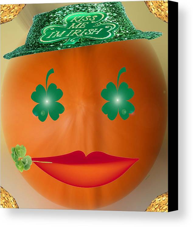 Halloween Canvas Print featuring the digital art Pumpa-trick by Linda Galok