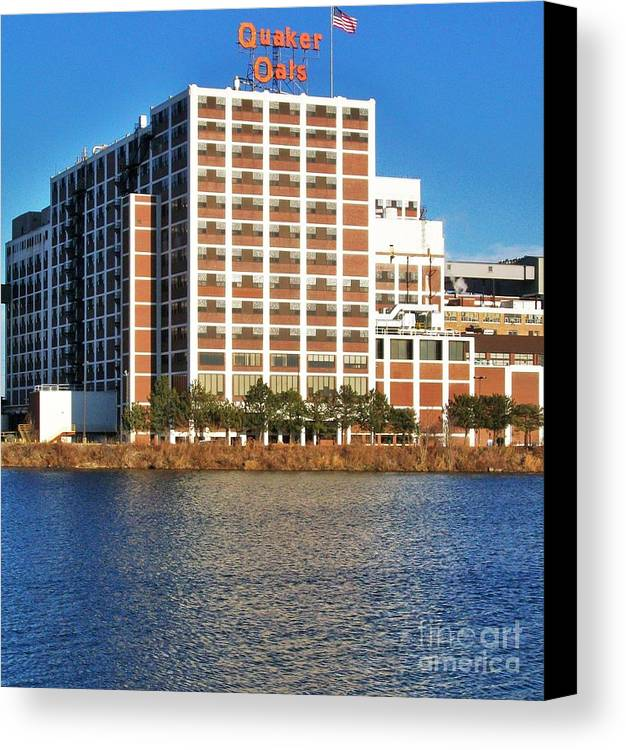 Photo Canvas Print featuring the photograph Quaker Oats First Building by Marsha Heiken