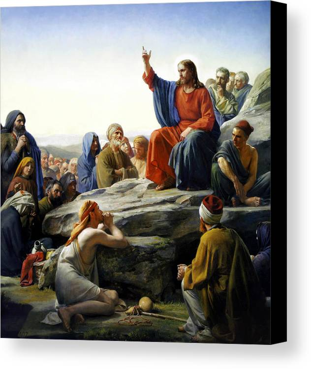 Sermon On The Mount Canvas Print featuring the painting Sermon On The Mount by Carl Bloch