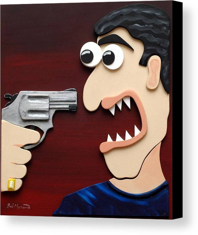 Funism Canvas Print featuring the painting Shut Up by Sal Marino