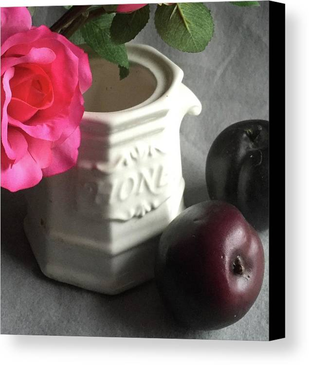 Still Life Canvas Print featuring the photograph Still Life With Plums by Howard Rose