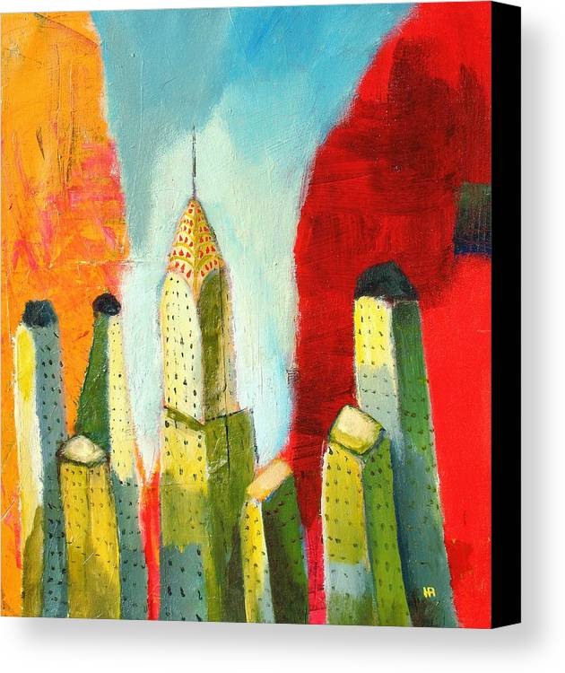 Abstract Cityscape Canvas Print featuring the painting The Chrysler In Colors by Habib Ayat