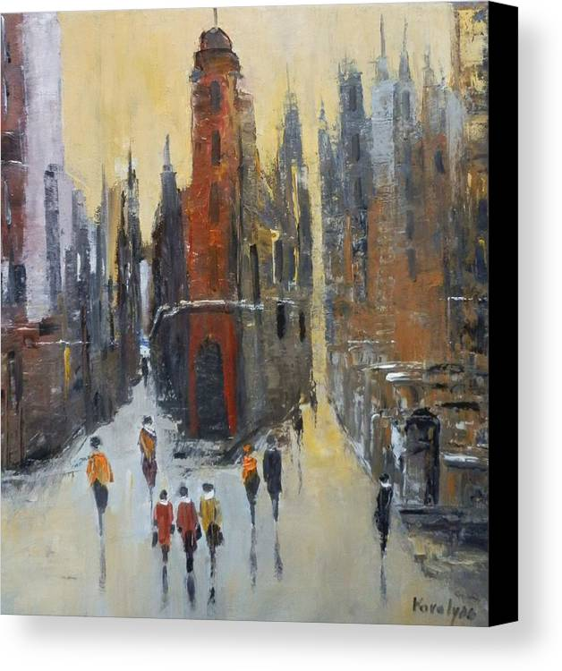 Abstract Canvas Print featuring the painting The City At Sunset by Maria Karalyos
