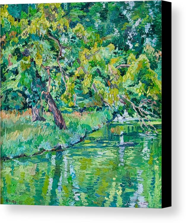 Landscape Canvas Print featuring the painting Tree Near A Pond In Lednice Castle Park by Vitali Komarov