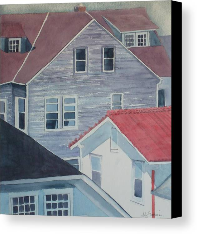 Cityscape Canvas Print featuring the painting View From Theback Window by Ally Benbrook
