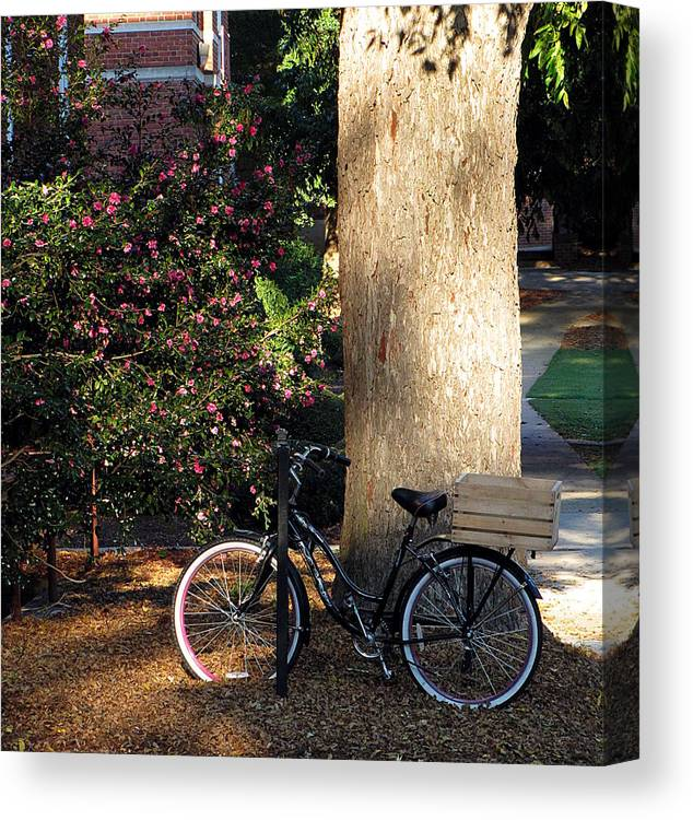 Bike Canvas Print featuring the photograph Gone To Class by Greg Simmons