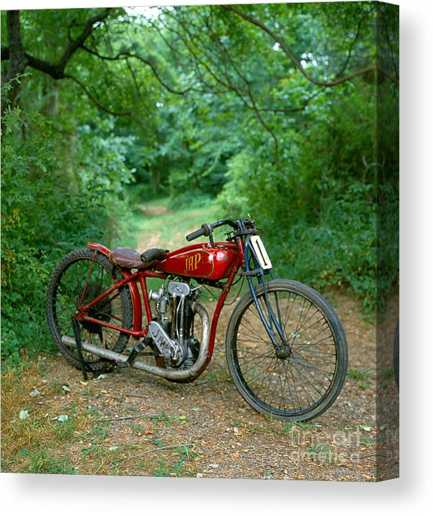 Vintage Motorcycle J. A. P. Racer 1928 Indian Motorcycle Racer Canvas Print featuring the photograph J. A. P. Racer 1930 by Allan Sprecher