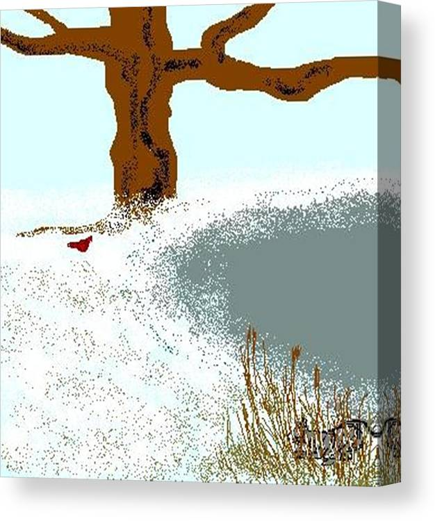 Canvas Print featuring the digital art At The Pond by Carole Boyd