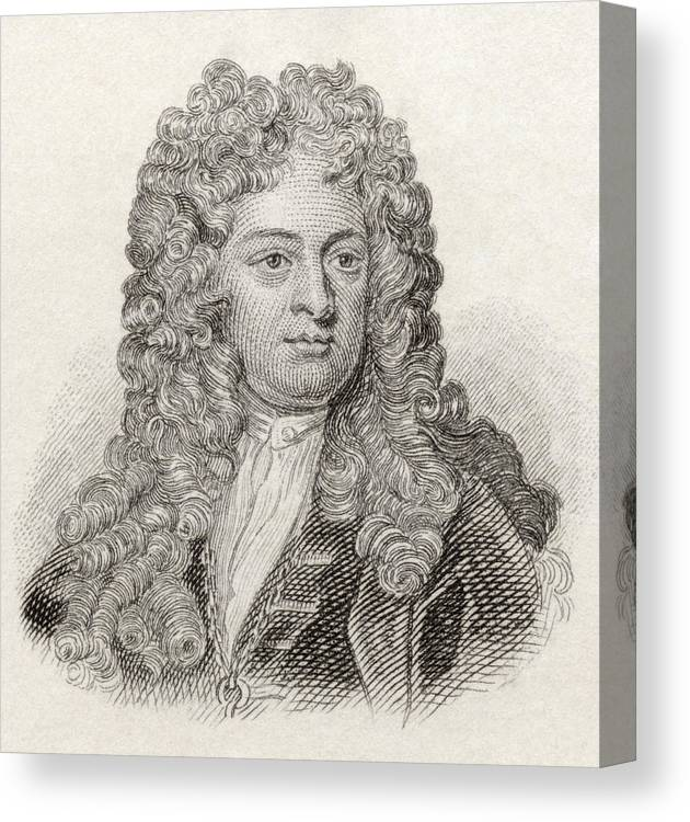 Vanbrugh Canvas Print featuring the drawing Sir John Vanbrugh, 1664 To 1726 by Vintage Design Pics