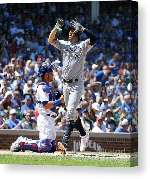 People Canvas Print featuring the photograph Milwaukee Brewers V Chicago Cubs 6 by Nuccio Dinuzzo