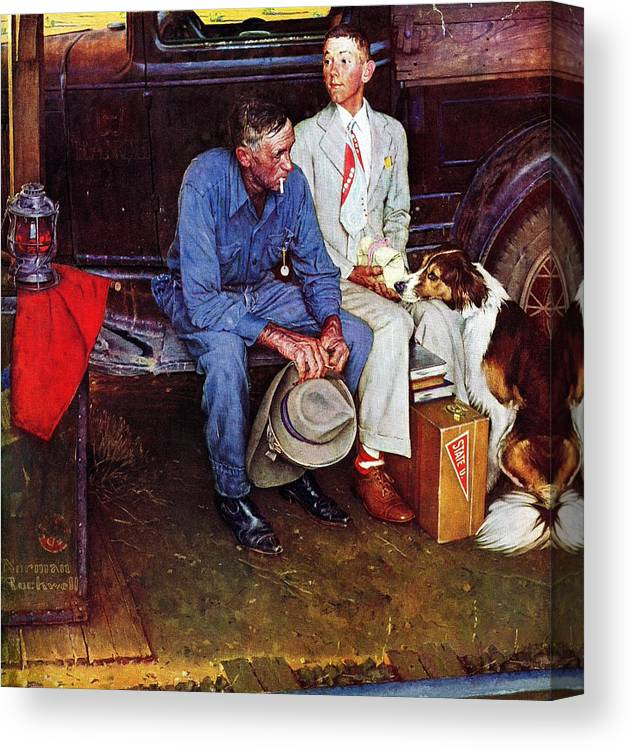 College Canvas Print featuring the drawing Breaking Home Ties by Norman Rockwell