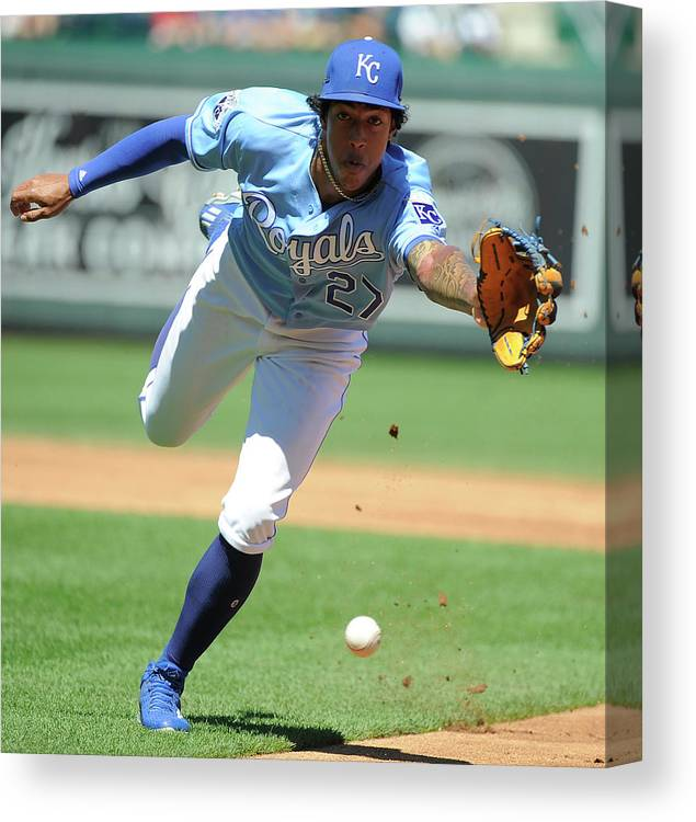 Second Inning Canvas Print featuring the photograph Jorge Polanco And Raul Mondesi by Ed Zurga