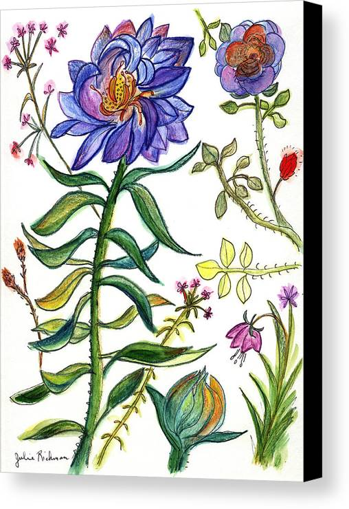 Nature Flowers Orchids Art Painting Plants Fantasy Canvas Print featuring the painting Blue Flowers 55 by Julie Richman