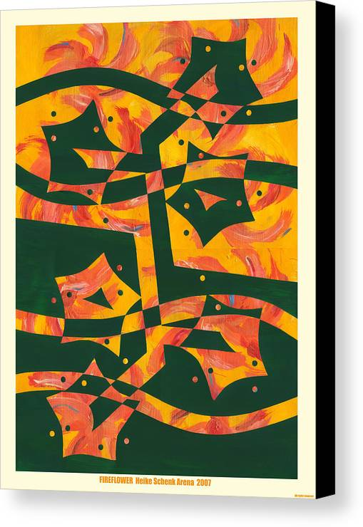 Collage Canvas Print featuring the mixed media Fireflower by Heike Schenk-Arena
