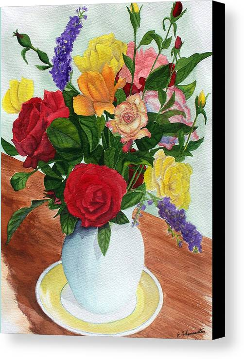 Floral Canvas Print featuring the painting Flowers On A Cat Dish by Robert Thomaston